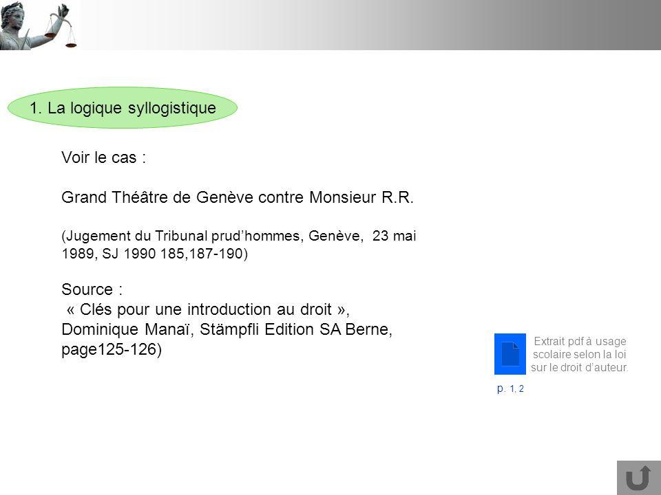 1.La logique syllogistique Voir le cas : Grand Théâtre de Genève contre Monsieur R.R.