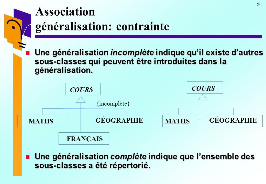26 Association généralisation: contrainte Une généralisation incomplète indique quil existe dautres sous-classes qui peuvent être introduites dans la généralisation.