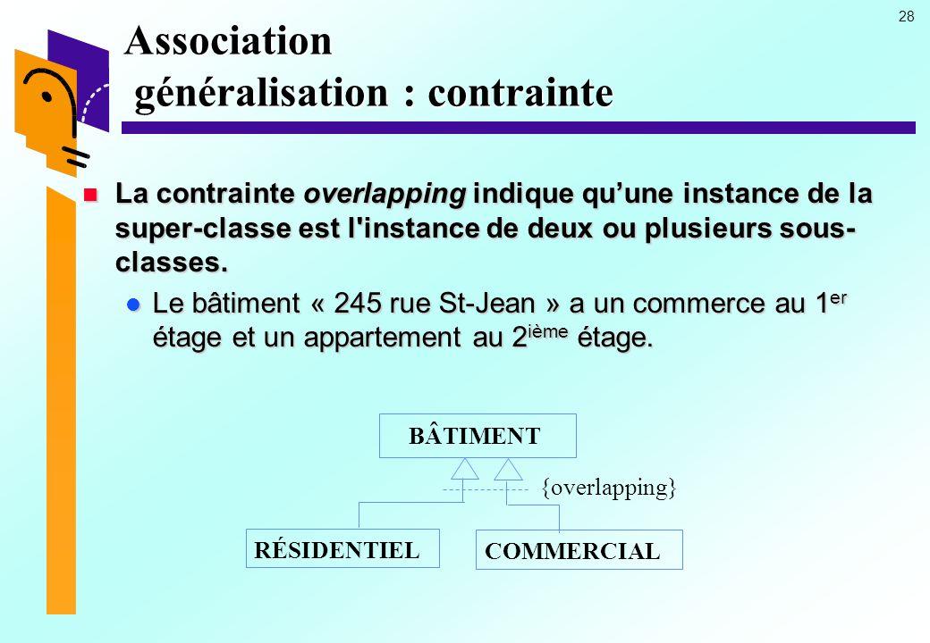 28 Association généralisation : contrainte La contrainte overlapping indique quune instance de la super-classe est l instance de deux ou plusieurs sous- classes.