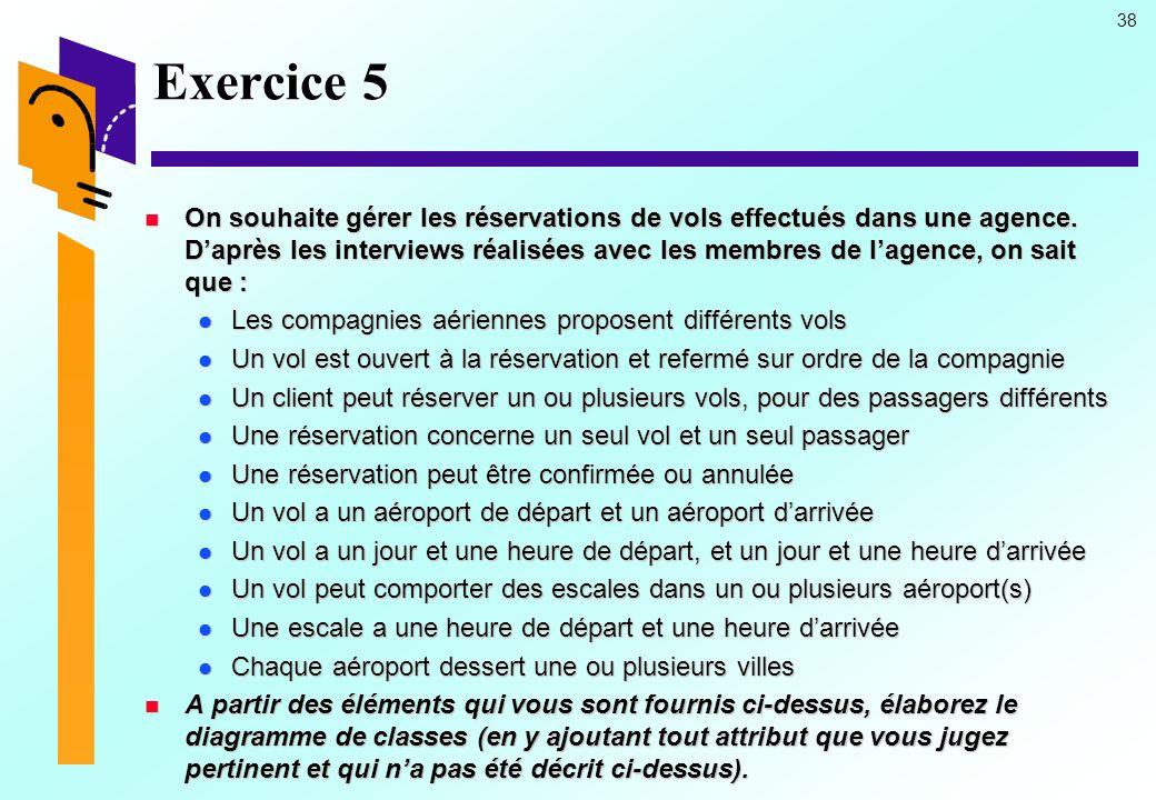 38 Exercice 5 On souhaite gérer les réservations de vols effectués dans une agence.