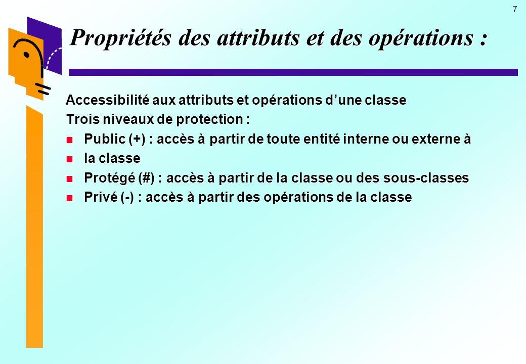 7 Propriétés des attributs et des opérations : Accessibilité aux attributs et opérations dune classe Trois niveaux de protection : Public (+) : accès à partir de toute entité interne ou externe à Public (+) : accès à partir de toute entité interne ou externe à la classe la classe Protégé (#) : accès à partir de la classe ou des sous-classes Protégé (#) : accès à partir de la classe ou des sous-classes Privé (-) : accès à partir des opérations de la classe Privé (-) : accès à partir des opérations de la classe
