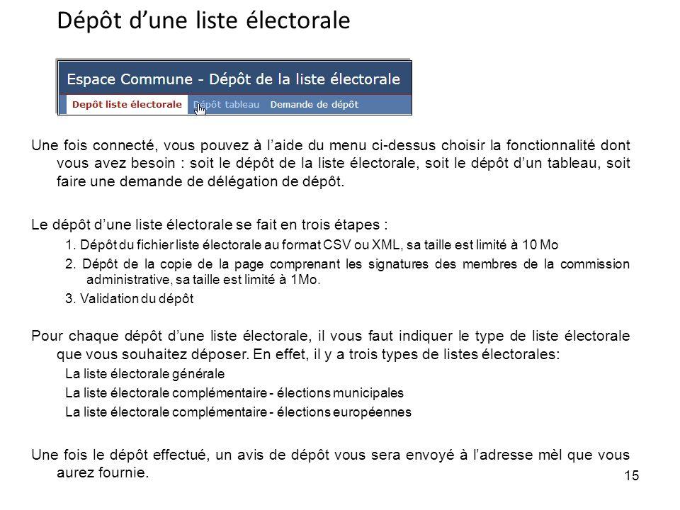 15 Une fois connecté, vous pouvez à laide du menu ci-dessus choisir la fonctionnalité dont vous avez besoin : soit le dépôt de la liste électorale, soit le dépôt dun tableau, soit faire une demande de délégation de dépôt.