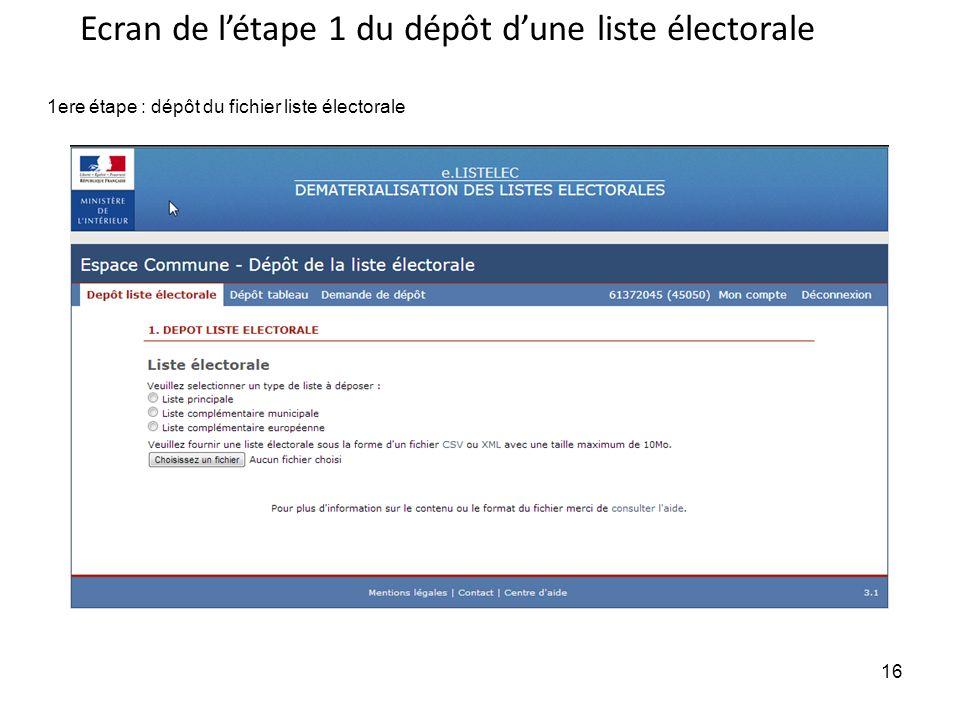 16 1ere étape : dépôt du fichier liste électorale Ecran de létape 1 du dépôt dune liste électorale 16