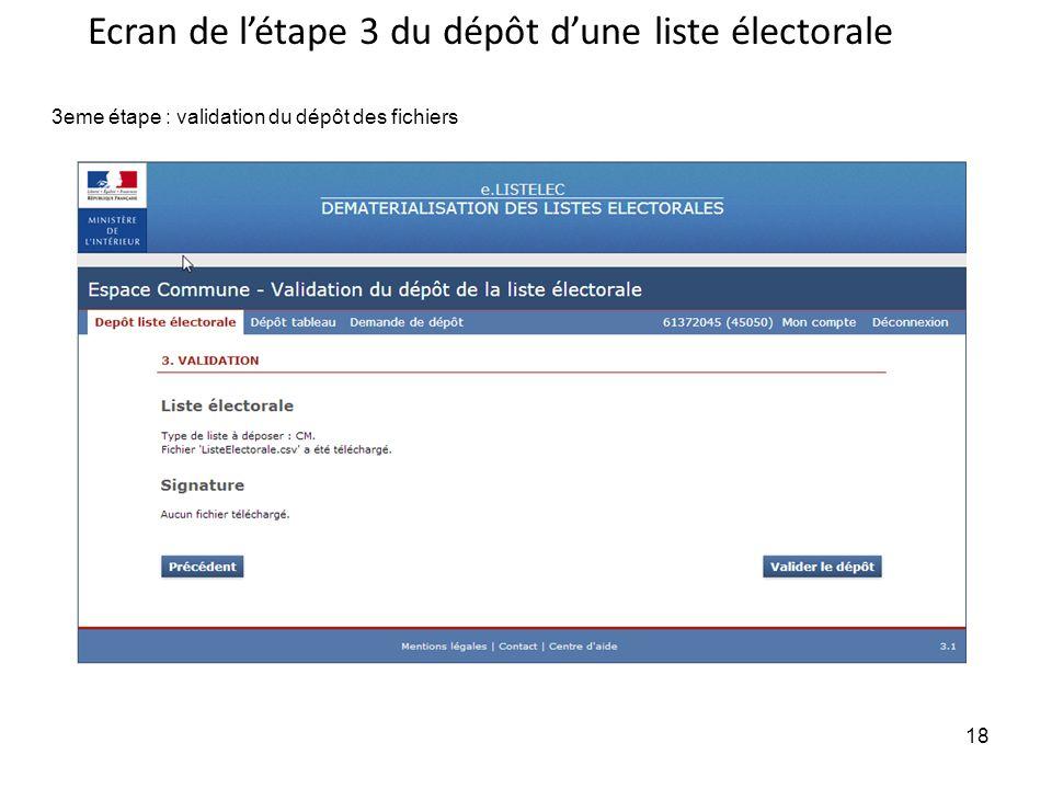 18 3eme étape : validation du dépôt des fichiers Ecran de létape 3 du dépôt dune liste électorale 18