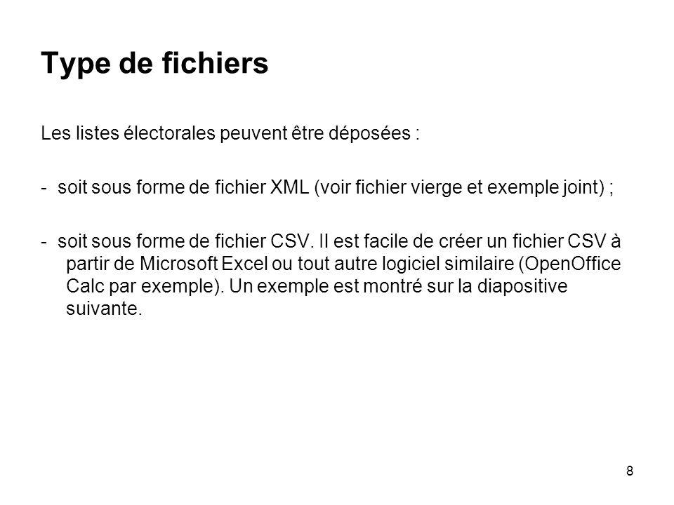 8 Type de fichiers Les listes électorales peuvent être déposées : - soit sous forme de fichier XML (voir fichier vierge et exemple joint) ; - soit sous forme de fichier CSV.
