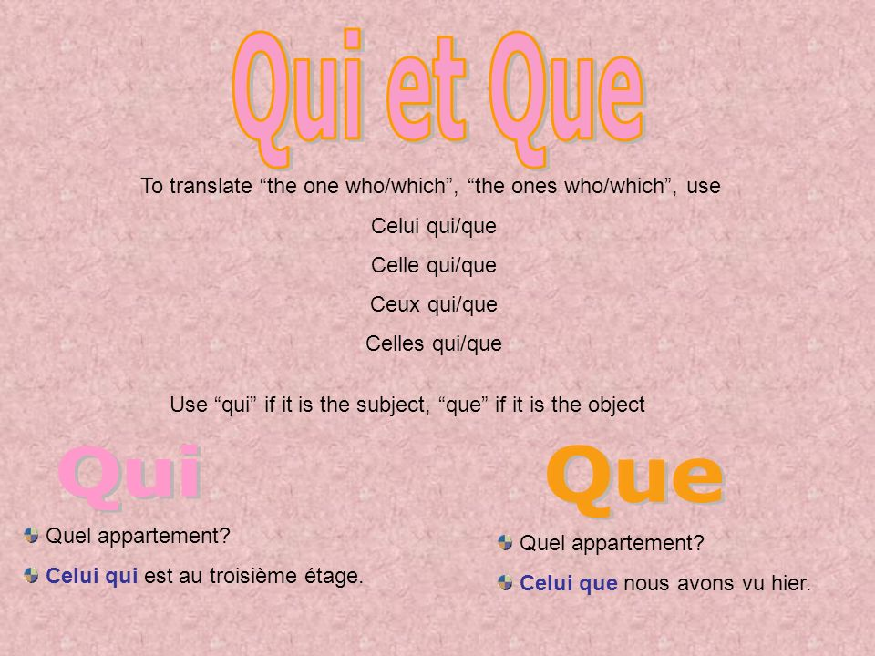 To translate the one who/which, the ones who/which, use Celui qui/que Celle qui/que Ceux qui/que Celles qui/que Use qui if it is the subject, que if it is the object Quel appartement.