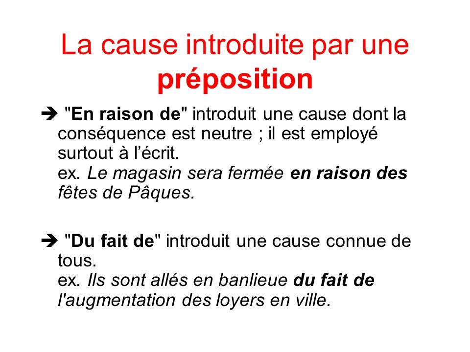 La cause introduite par des mots de liaison Car -est employé plutôt à lécrit -introduit une explication à ce qui vient dêtre dit ex.