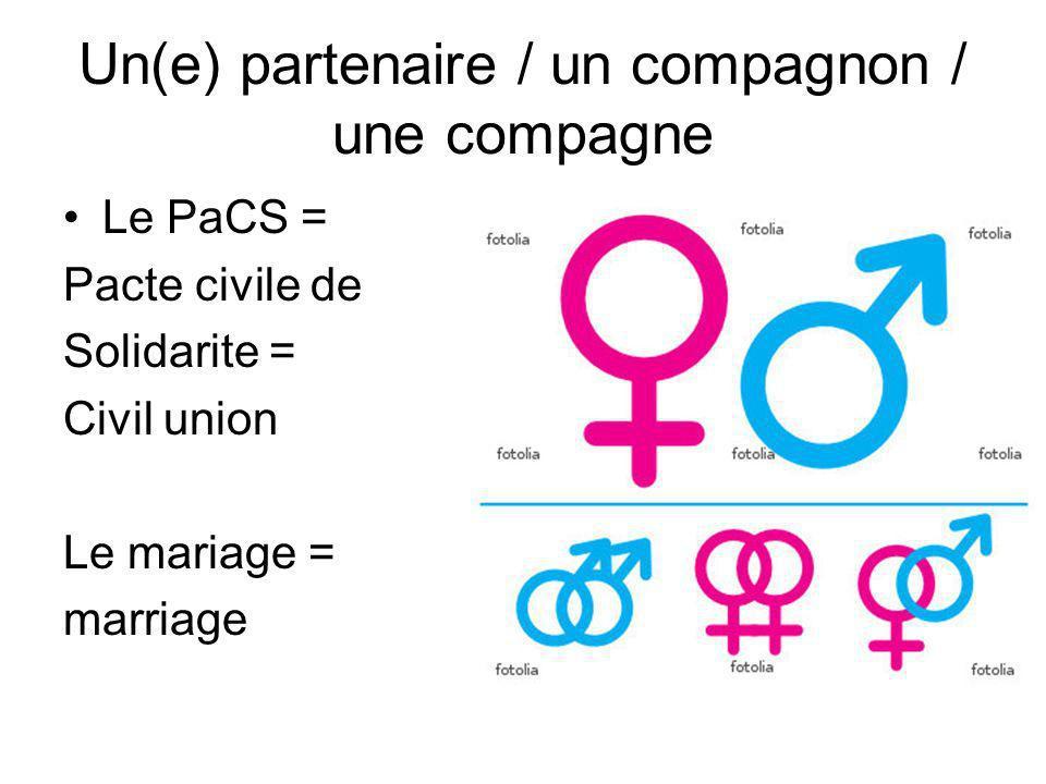 Un(e) partenaire / un compagnon / une compagne Le PaCS = Pacte civile de Solidarite = Civil union Le mariage = marriage