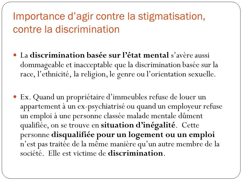 Importance dagir contre la stigmatisation, contre la discrimination La discrimination basée sur létat mental savère aussi dommageable et inacceptable