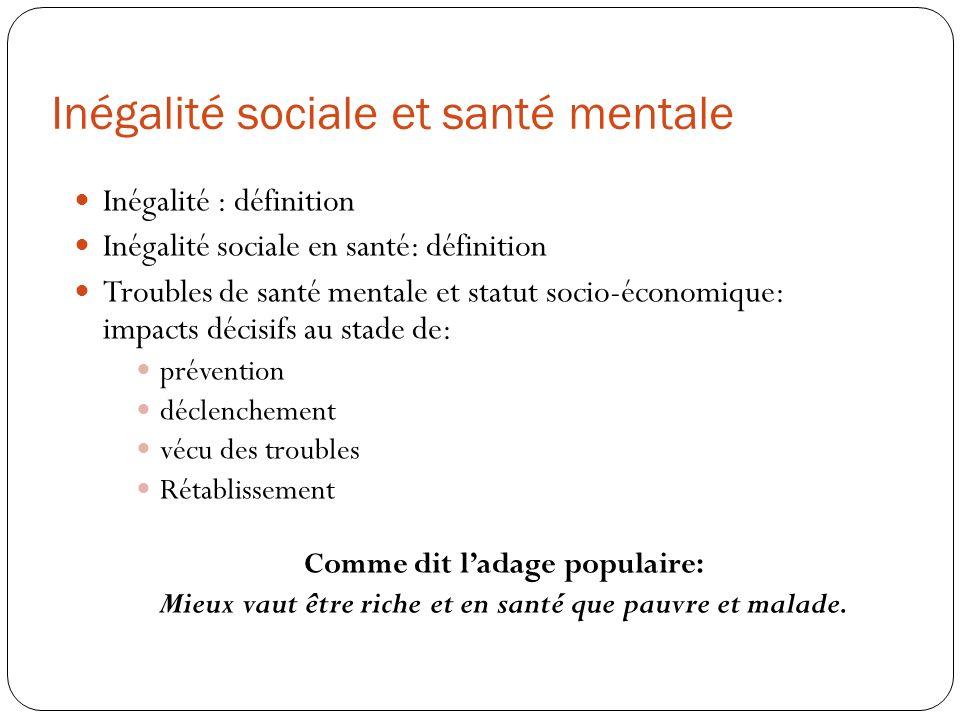 Inégalité sociale et santé mentale Inégalité : définition Inégalité sociale en santé: définition Troubles de santé mentale et statut socio-économique: