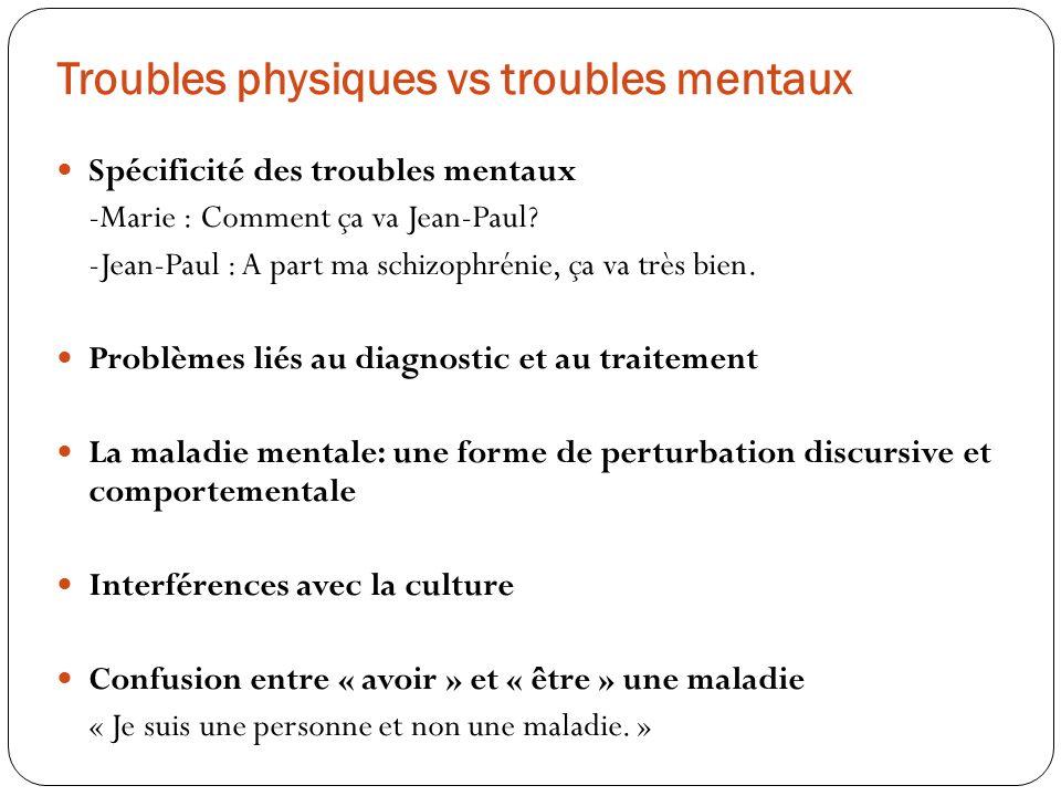 Troubles physiques vs troubles mentaux Spécificité des troubles mentaux -Marie : Comment ça va Jean-Paul? -Jean-Paul : A part ma schizophrénie, ça va
