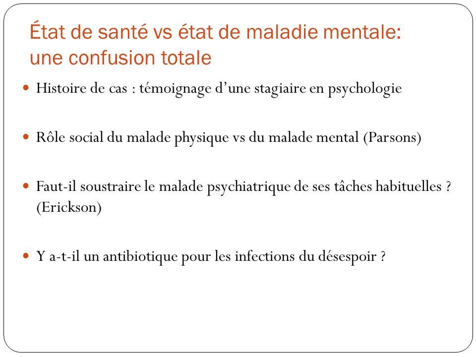 État de santé vs état de maladie mentale: une confusion totale Histoire de cas : témoignage dune stagiaire en psychologie Rôle social du malade physiq