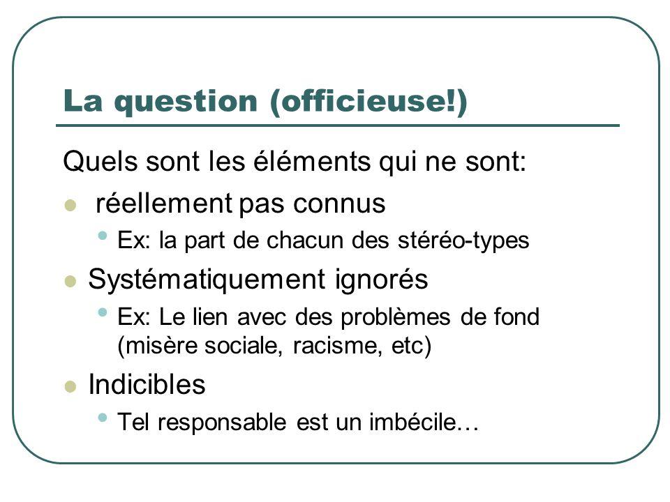 La question (officieuse!) Quels sont les éléments qui ne sont: réellement pas connus Ex: la part de chacun des stéréo-types Systématiquement ignorés E