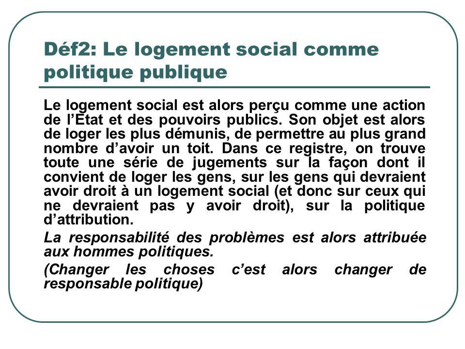 Déf2: Le logement social comme politique publique Le logement social est alors perçu comme une action de lEtat et des pouvoirs publics. Son objet est