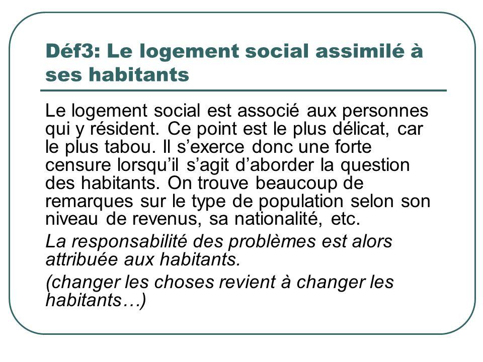 Déf3: Le logement social assimilé à ses habitants Le logement social est associé aux personnes qui y résident. Ce point est le plus délicat, car le pl