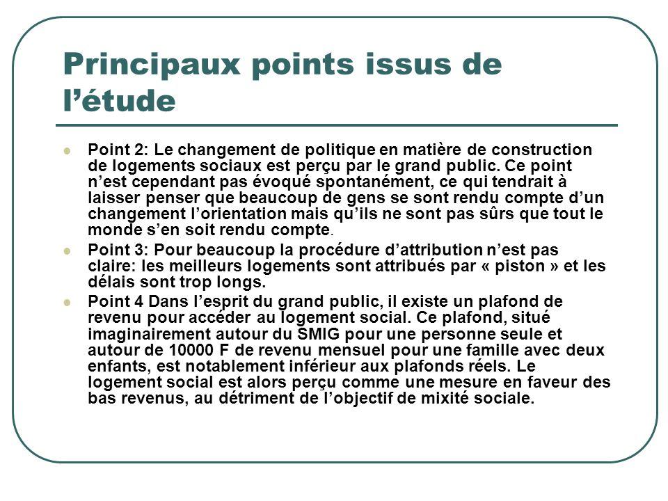 Principaux points issus de létude Point 2: Le changement de politique en matière de construction de logements sociaux est perçu par le grand public. C