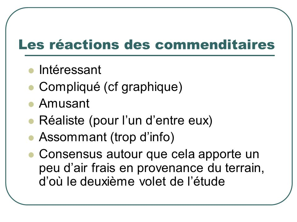 Les réactions des commenditaires Intéressant Compliqué (cf graphique) Amusant Réaliste (pour lun dentre eux) Assommant (trop dinfo) Consensus autour q