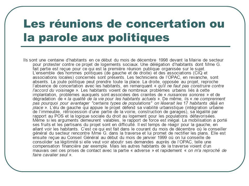Les réunions de concertation ou la parole aux politiques Ils sont une centaine dhabitants en ce début du mois de décembre 1998 devant la Mairie de sec