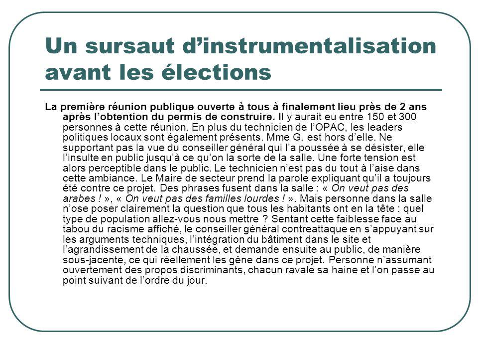 Un sursaut dinstrumentalisation avant les élections La première réunion publique ouverte à tous à finalement lieu près de 2 ans après lobtention du pe