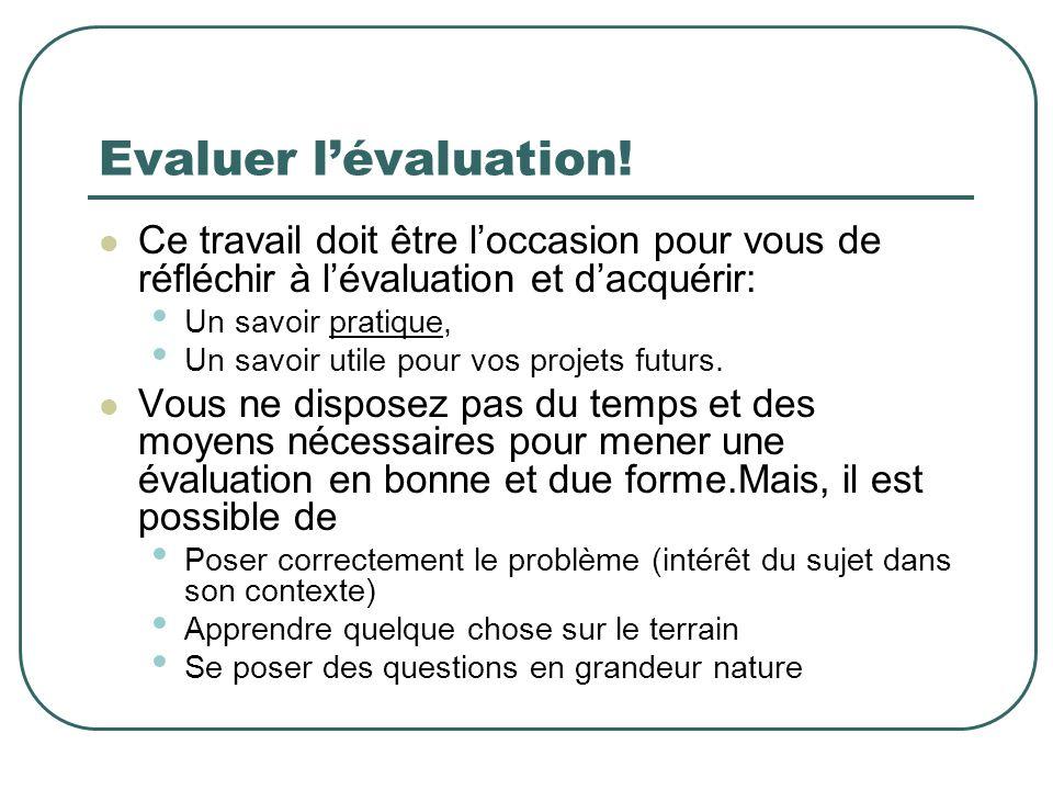 Evaluer lévaluation! Ce travail doit être loccasion pour vous de réfléchir à lévaluation et dacquérir: Un savoir pratique, Un savoir utile pour vos pr