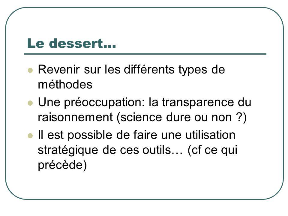 Le dessert… Revenir sur les différents types de méthodes Une préoccupation: la transparence du raisonnement (science dure ou non ?) Il est possible de