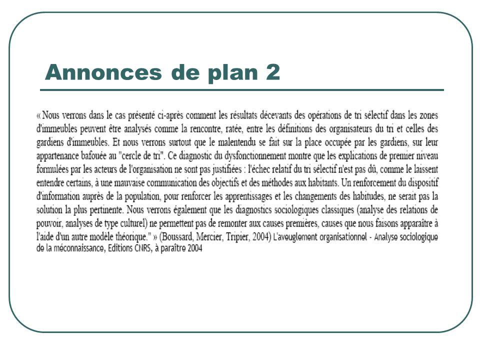 Annonces de plan 2