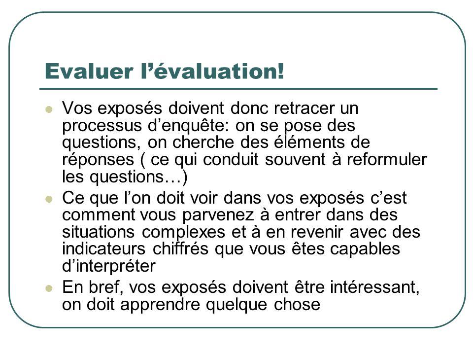 Evaluer lévaluation! Vos exposés doivent donc retracer un processus denquête: on se pose des questions, on cherche des éléments de réponses ( ce qui c