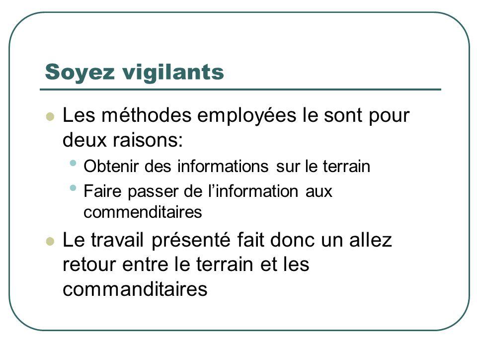 Soyez vigilants Les méthodes employées le sont pour deux raisons: Obtenir des informations sur le terrain Faire passer de linformation aux commenditai