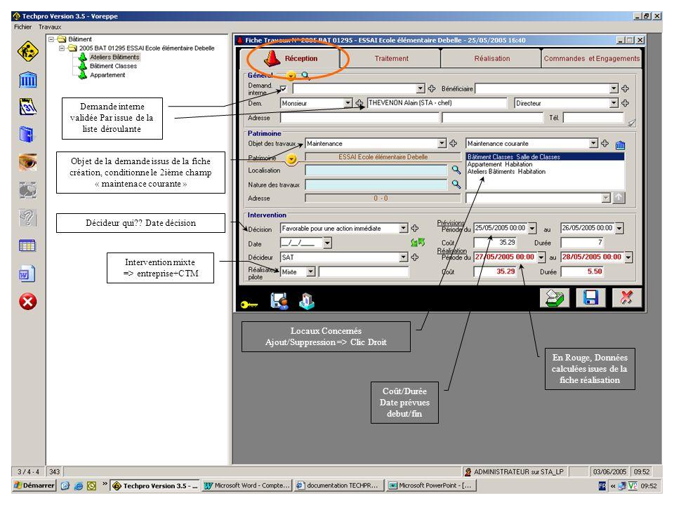 31/05/05Procédure Saisie-Validation3 Demande interne validée Par issue de la liste déroulante Objet de la demande issus de la fiche création, conditio