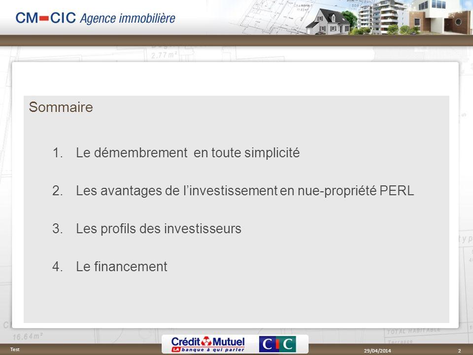 Sommaire 1.Le démembrement en toute simplicité 2.Les avantages de linvestissement en nue-propriété PERL 3.Les profils des investisseurs 4.Le financeme