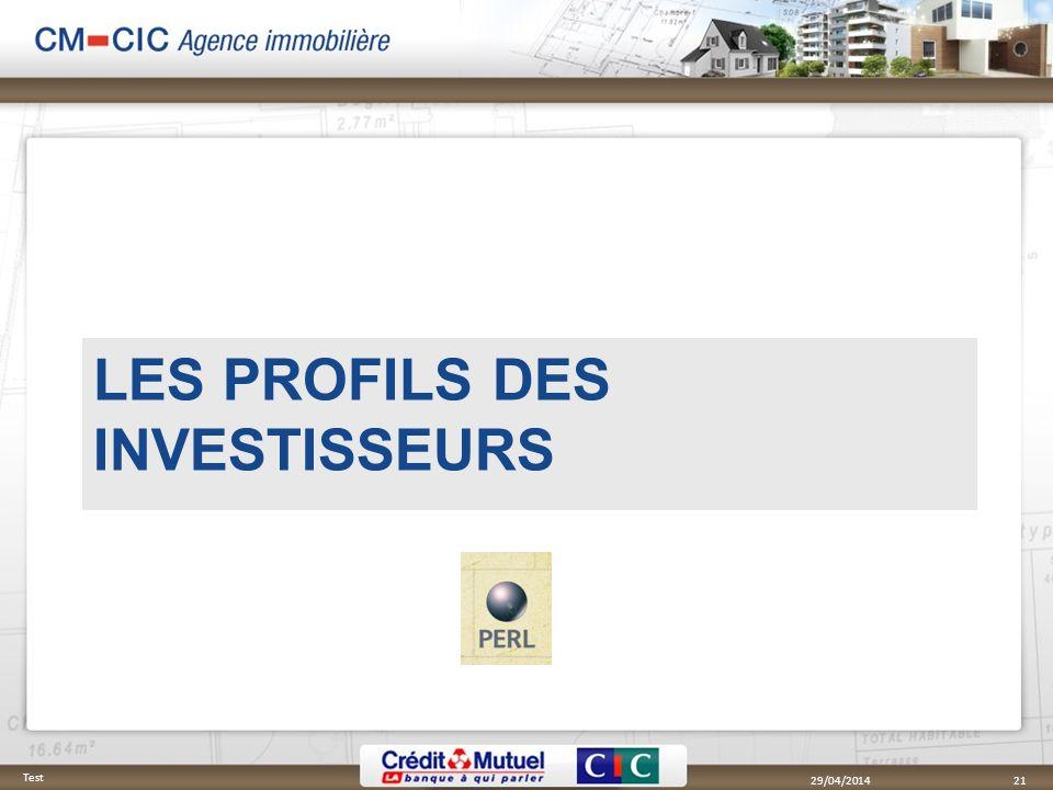29/04/2014 Test 21 LES PROFILS DES INVESTISSEURS