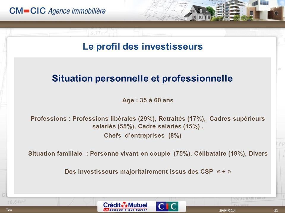 Le profil des investisseurs Situation personnelle et professionnelle Age : 35 à 60 ans Professions : Professions libérales (29%), Retraités (17%), Cad
