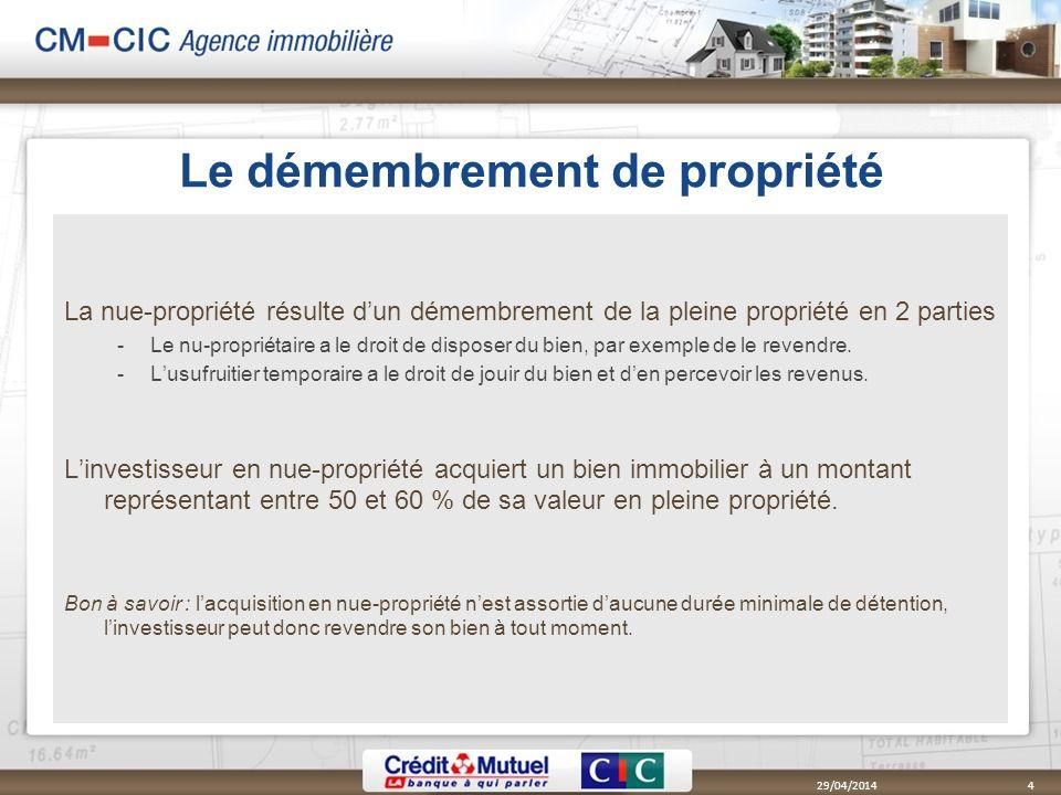 Le démembrement de propriété La nue-propriété résulte dun démembrement de la pleine propriété en 2 parties Le nu-propriétaire a le droit de disposer