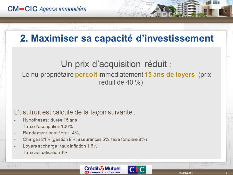 2. Maximiser sa capacité dinvestissement Un prix dacquisition réduit : Le nu-propriétaire perçoit immédiatement 15 ans de loyers (prix réduit de 40 %)