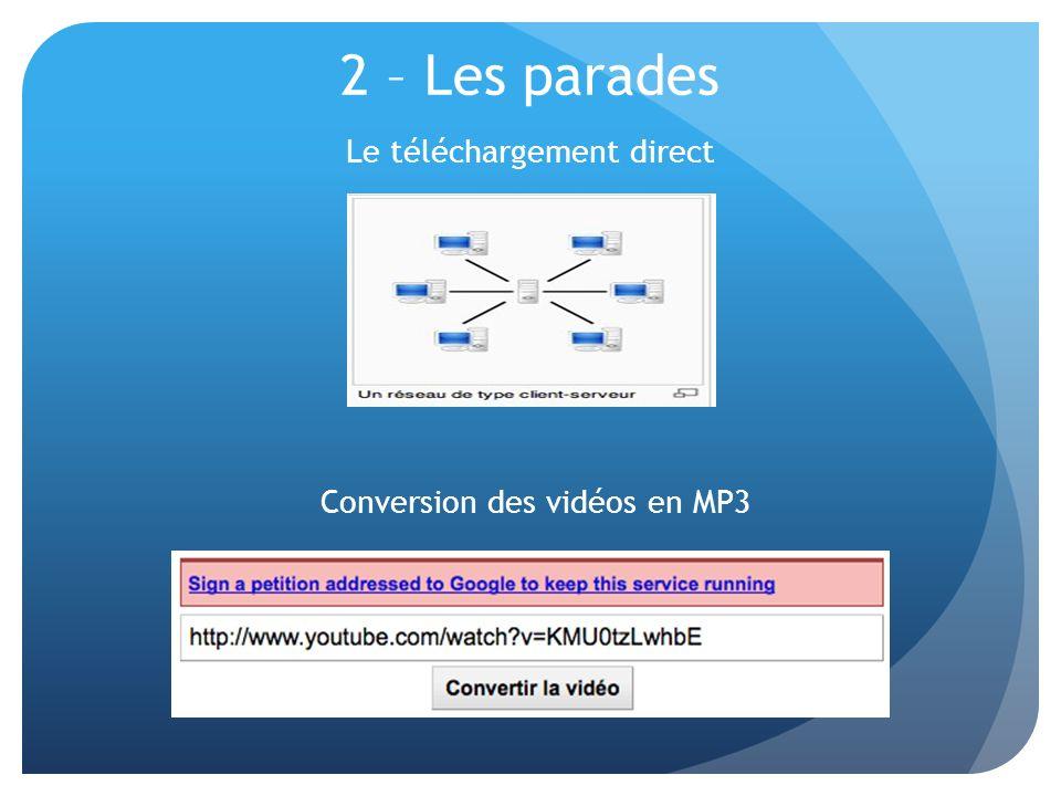 2 – Les parades Le téléchargement direct Conversion des vidéos en MP3