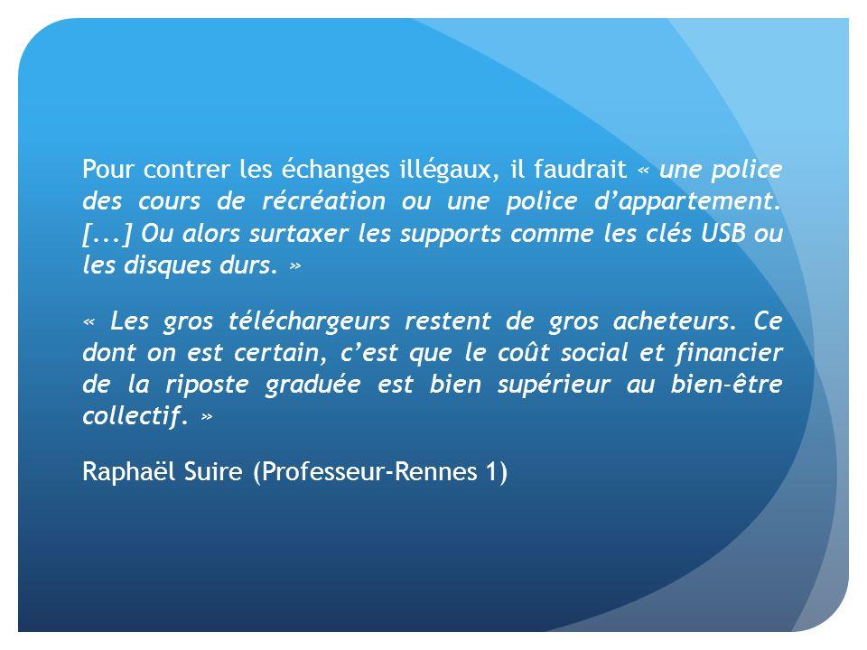 Pour contrer les échanges illégaux, il faudrait « une police des cours de récréation ou une police dappartement.