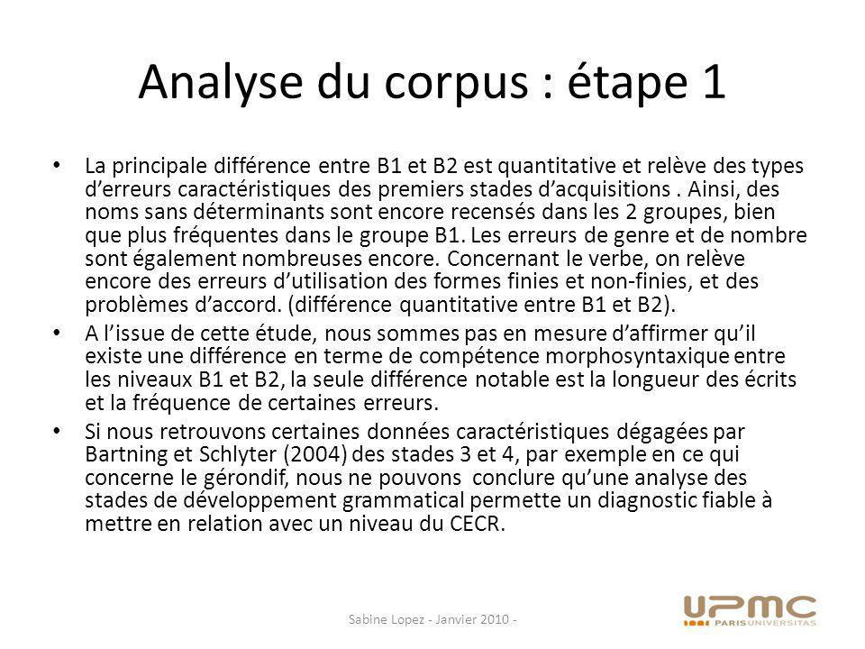 Analyse du corpus: Etape 2 Etape 2: Traitement par lanalyseur textuel prototypique Direkt Profil (Granfeldt et al., 2005, 2006).
