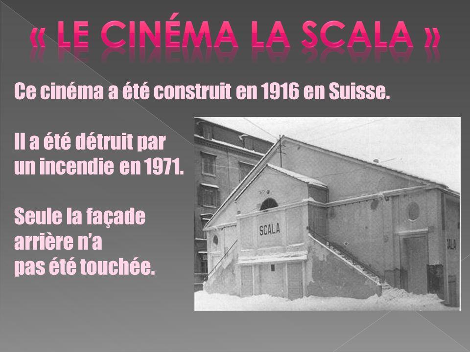 Ce cinéma a été construit en 1916 en Suisse. Il a été détruit par un incendie en 1971. Seule la façade arrière na pas été touchée.