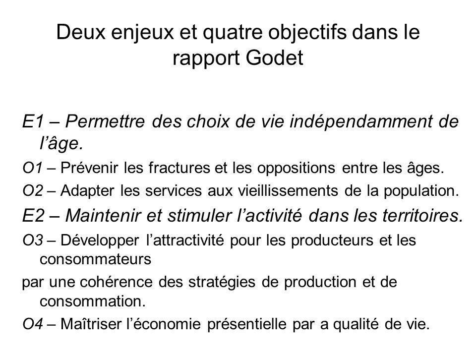 Deux enjeux et quatre objectifs dans le rapport Godet E1 – Permettre des choix de vie indépendamment de lâge. O1 – Prévenir les fractures et les oppos