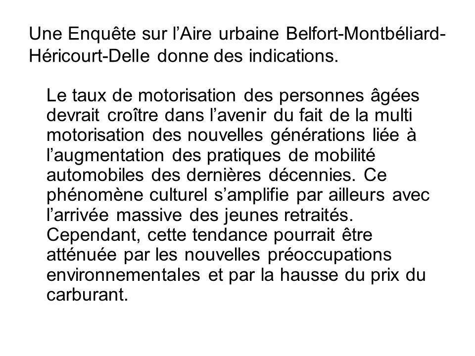 Une Enquête sur lAire urbaine Belfort-Montbéliard- Héricourt-Delle donne des indications. Le taux de motorisation des personnes âgées devrait croître