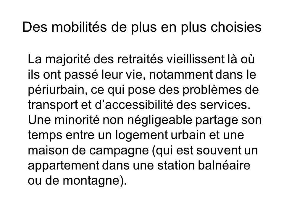 Des mobilités de plus en plus choisies La majorité des retraités vieillissent là où ils ont passé leur vie, notamment dans le périurbain, ce qui pose des problèmes de transport et daccessibilité des services.