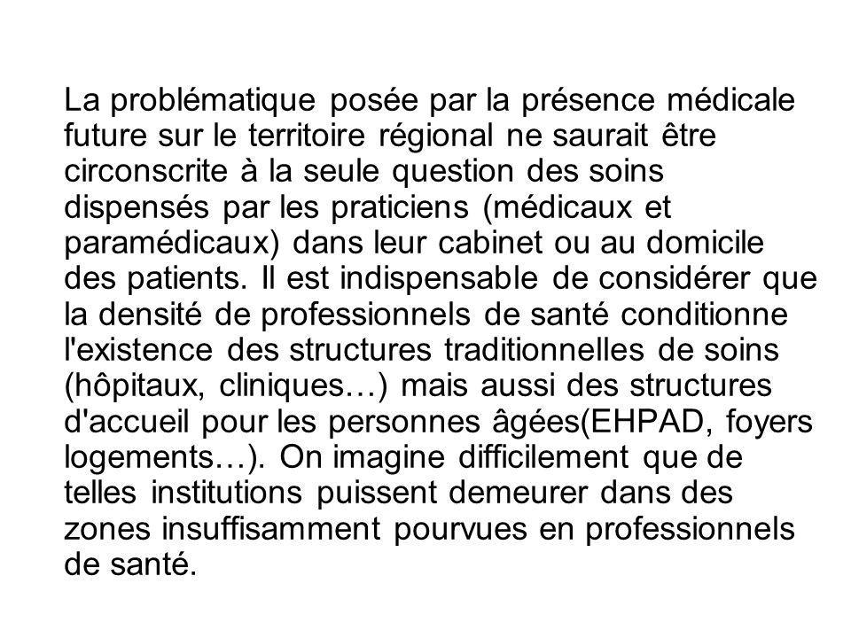 La problématique posée par la présence médicale future sur le territoire régional ne saurait être circonscrite à la seule question des soins dispensés par les praticiens (médicaux et paramédicaux) dans leur cabinet ou au domicile des patients.