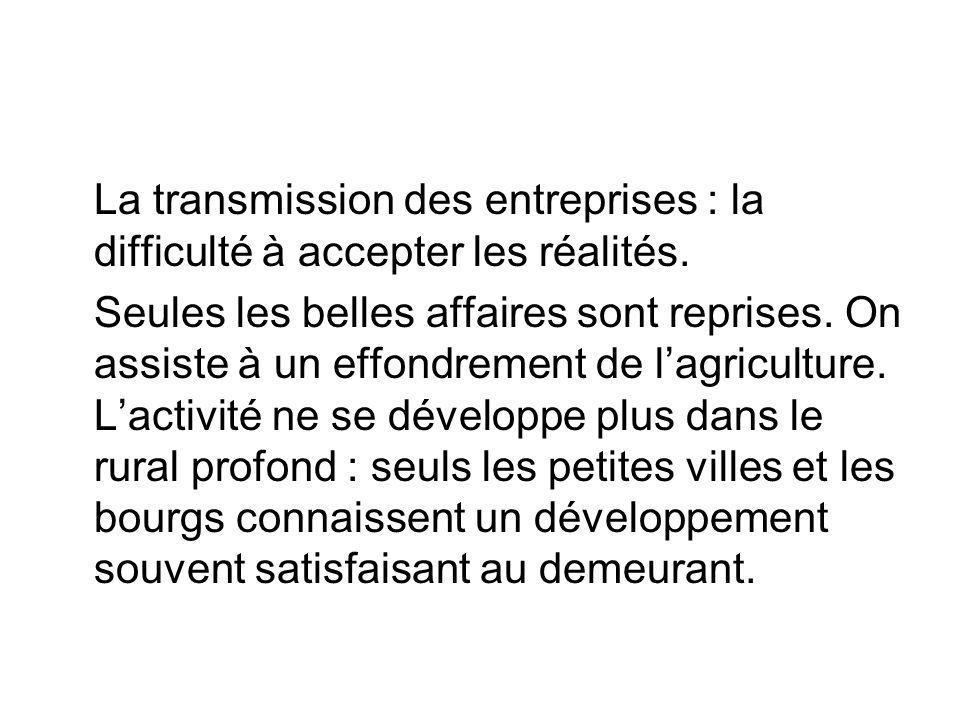 La transmission des entreprises : la difficulté à accepter les réalités. Seules les belles affaires sont reprises. On assiste à un effondrement de lag