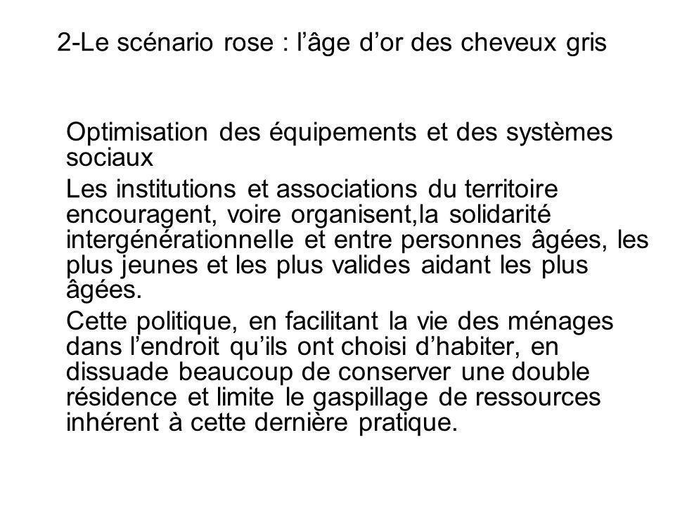 2-Le scénario rose : lâge dor des cheveux gris Optimisation des équipements et des systèmes sociaux Les institutions et associations du territoire enc
