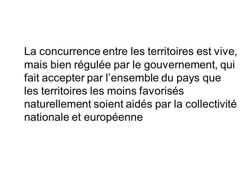 La concurrence entre les territoires est vive, mais bien régulée par le gouvernement, qui fait accepter par lensemble du pays que les territoires les moins favorisés naturellement soient aidés par la collectivité nationale et européenne