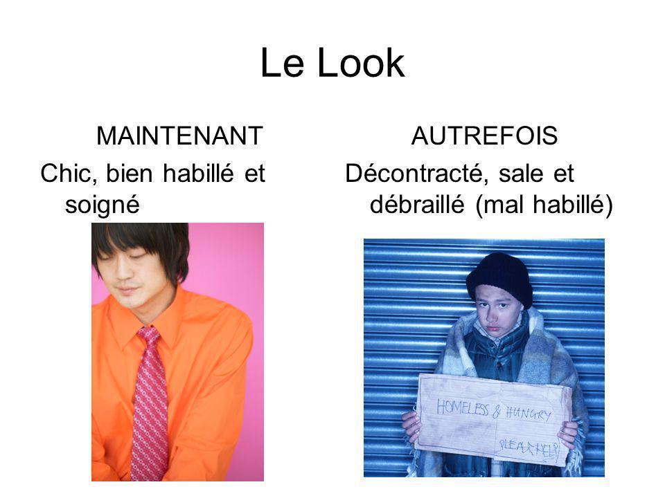 Le Look MAINTENANT Chic, bien habillé et soigné AUTREFOIS Décontracté, sale et débraillé (mal habillé)