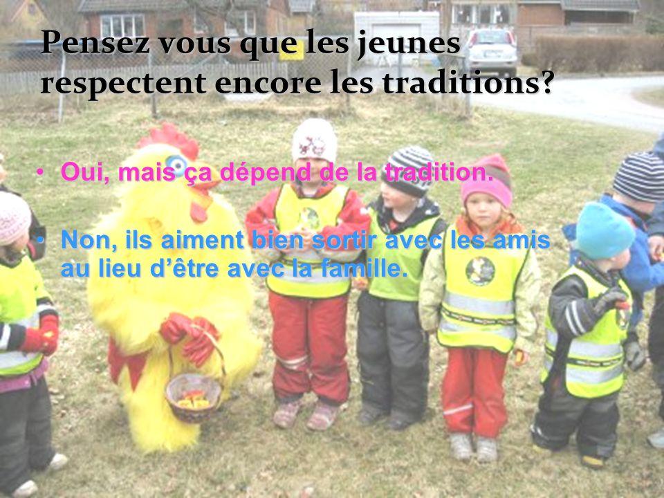 Pensez vous que les jeunes respectent encore les traditions? Oui, mais ça dépend de la tradition.Oui, mais ça dépend de la tradition. Non, ils aiment