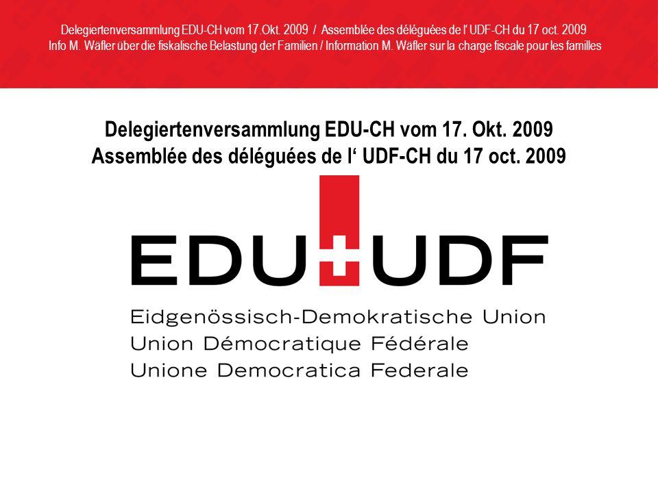 Delegiertenversammlung EDU-CH vom 17. Okt. 2009 Assemblée des déléguées de l UDF-CH du 17 oct.