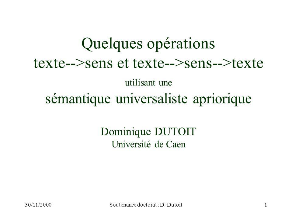 30/11/2000Soutenance doctorat : D. Dutoit1 Quelques opérations texte-->sens et texte-->sens-->texte utilisant une sémantique universaliste apriorique