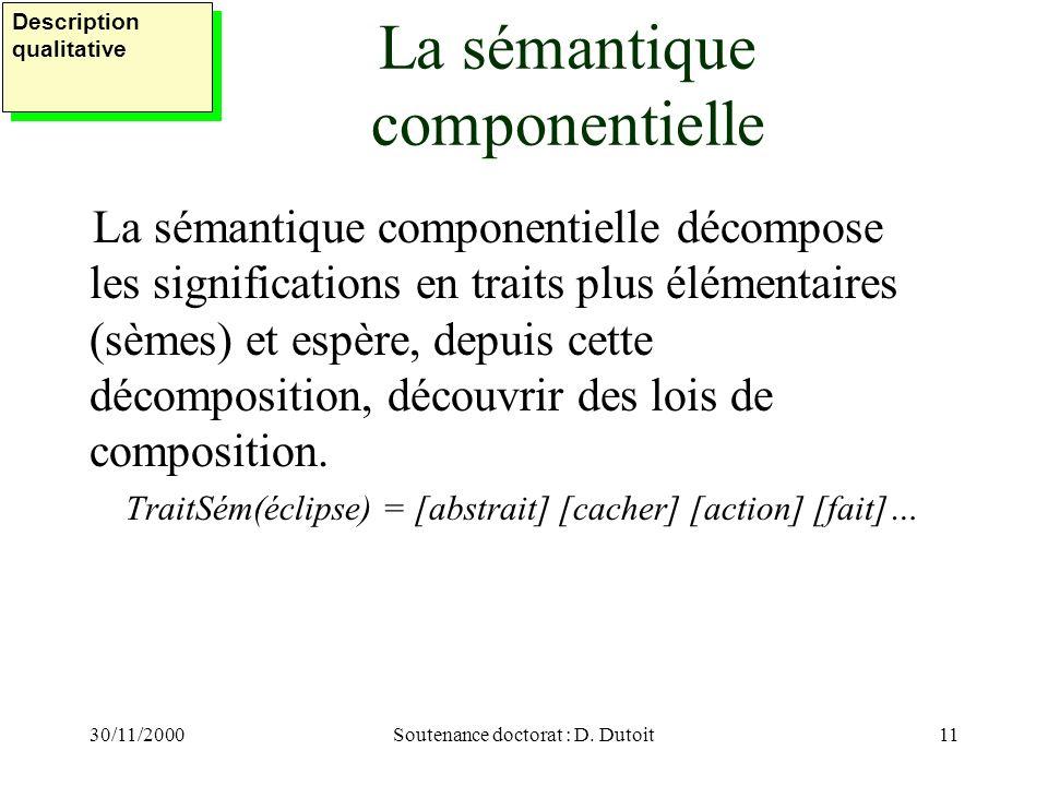 30/11/2000Soutenance doctorat : D. Dutoit11 La sémantique componentielle La sémantique componentielle décompose les significations en traits plus élém